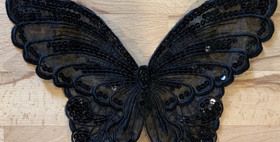 Black Sequin Organza Butterfly Motif Remnant