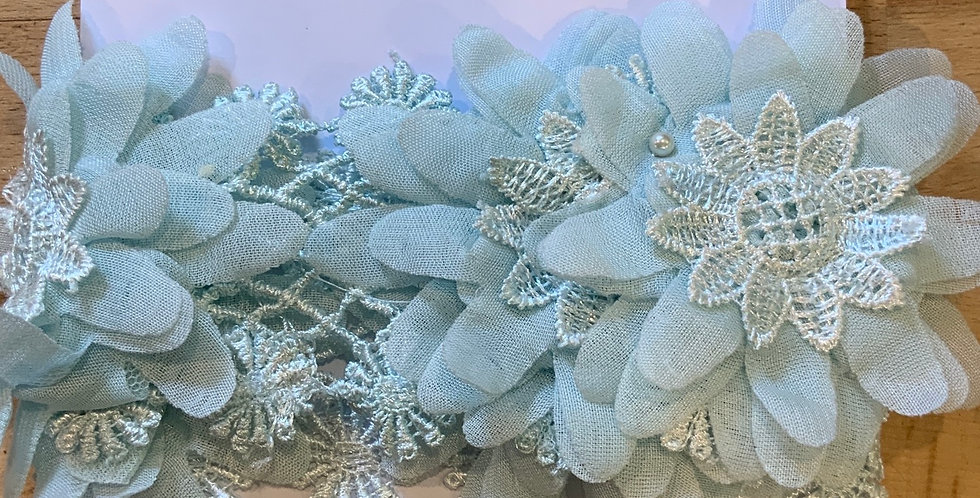 Hand Dyed Pale Sea Green Flowers Remnant