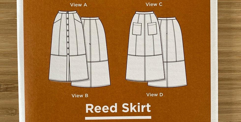 grain line studio reed skirt printed pattern