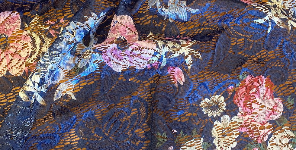 navy floral lace remnant