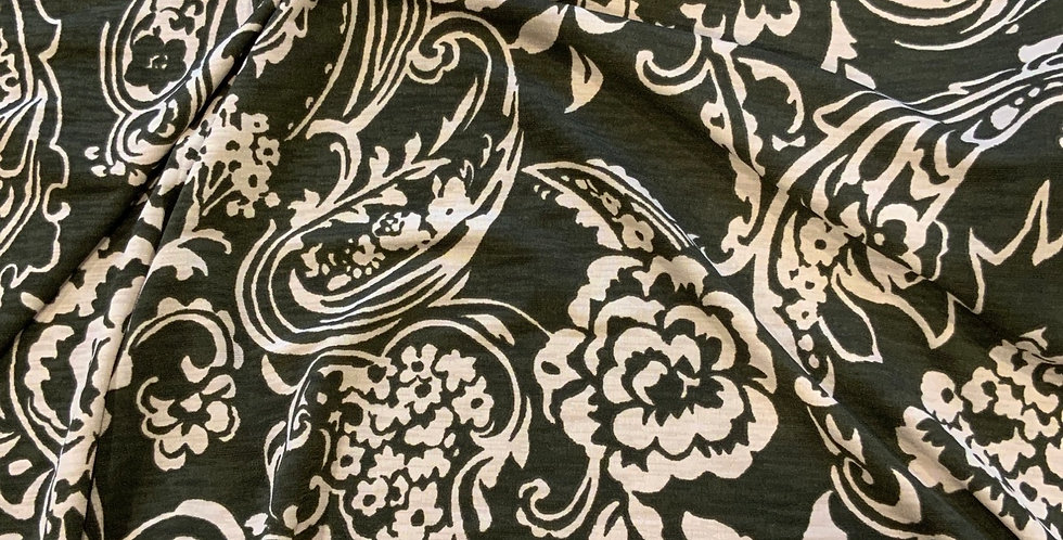 Khaki carnations Polyester Jersey Remnant