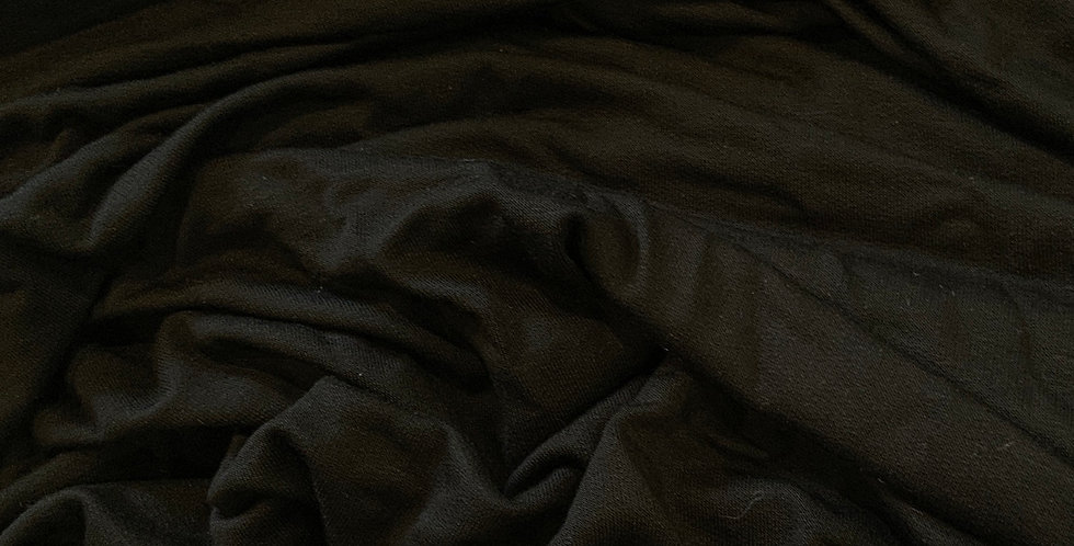 Black Unbrushed Bamboo 4 Way Stretch French Terry