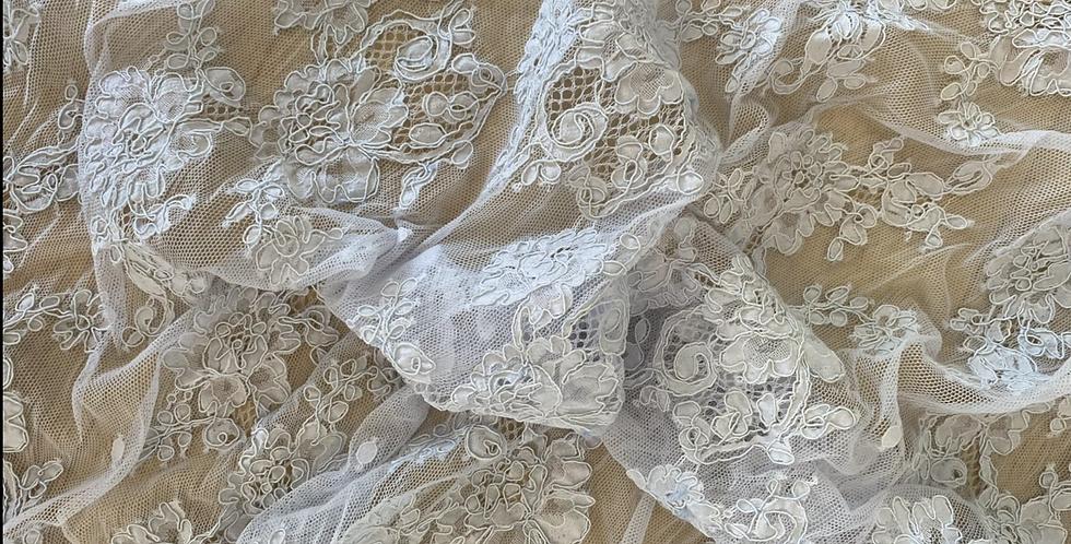 Powder blue corded lace motif piece 1
