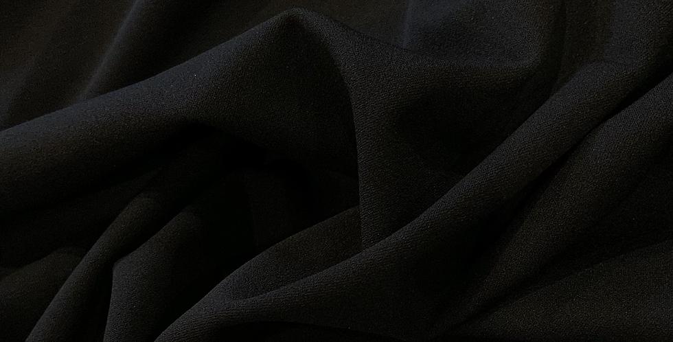 Black Double Bonded Stretch Crepe Remnant