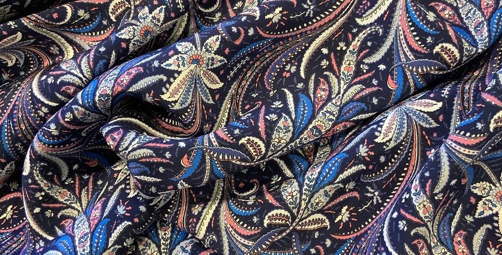 ELEGANCE BLUE Liberty Silk Crepe de Chine...