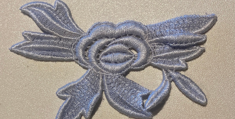 Powder Blue Guipure Rose Motif