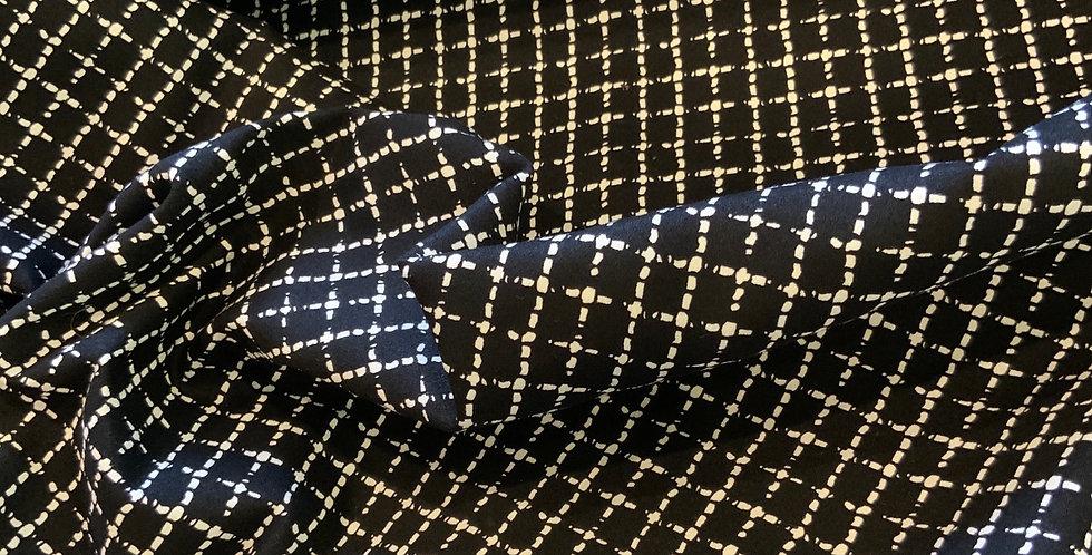 Monochrome Lattice Heavy Stretch Cotton Sateen...