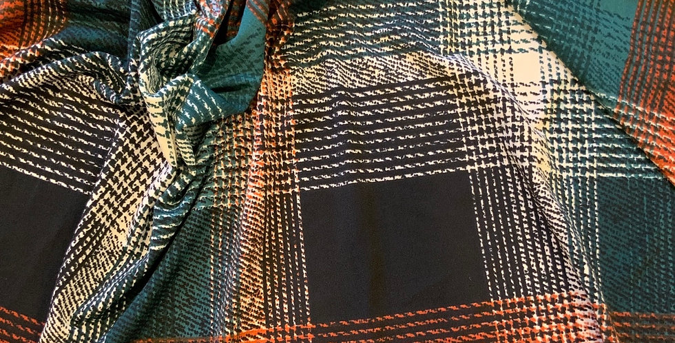 Autumn Check Polyester Jersey Remnant