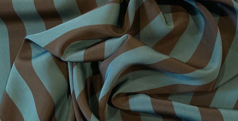 Azure Stripe Crepe de Chine...