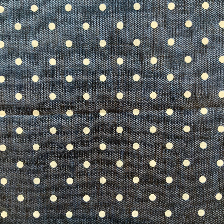 Thumbnail: Navy Spots Yarn Dyed Linen....