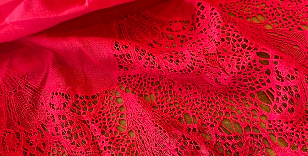 Bright Red Border Design Lace Remnant...
