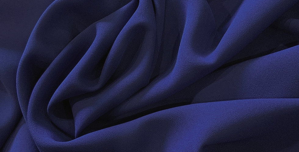Royal Blue Polyester Double Crepe Georgette Remnant