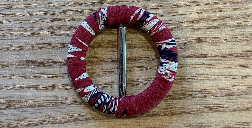 Indo Maroon Cotton Fabric Wrapped Belt Buckle...