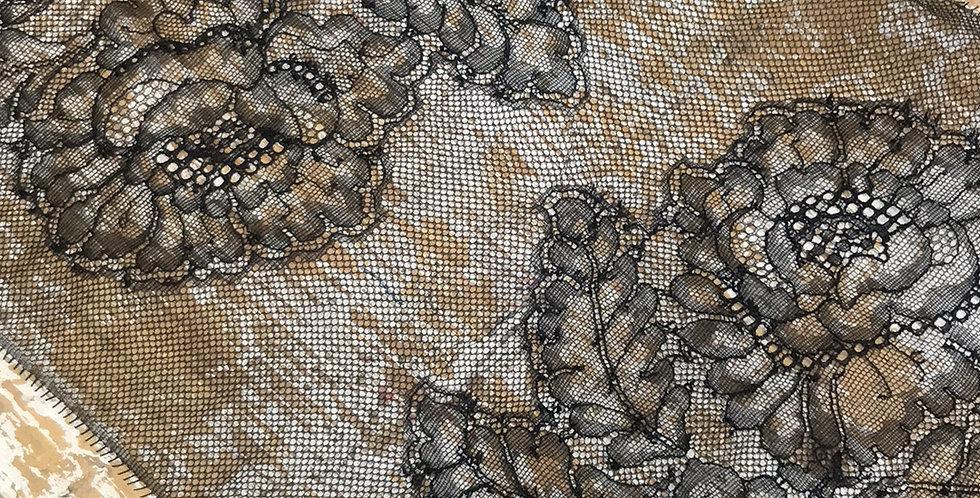 Black iris French motif lace trim