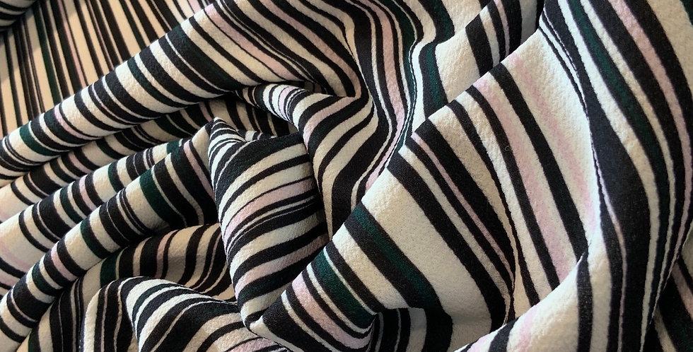 Vintage Stripes Polyester Stretch Crepe...