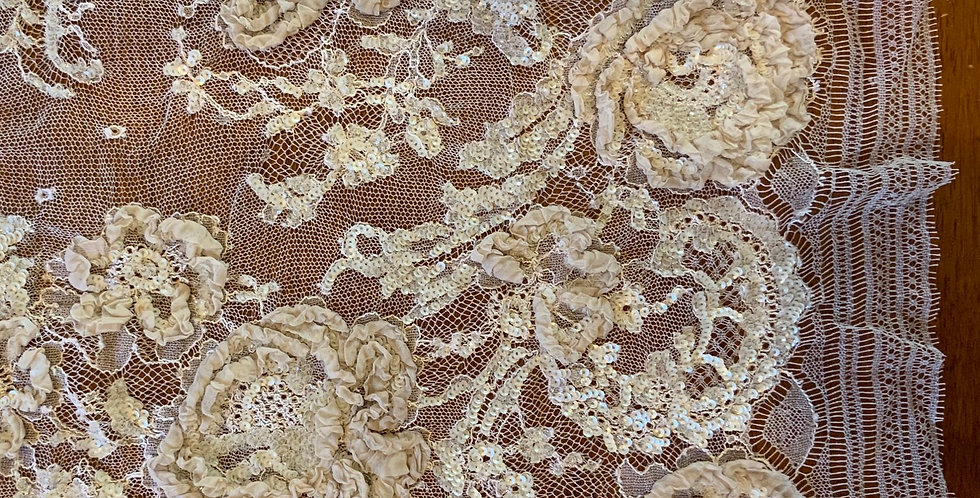 Pale Latte Hand Dyed Silk French Lace Piece....#510