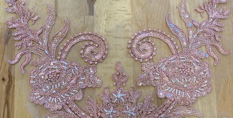 Dusty pink beaded lace motif piece 19