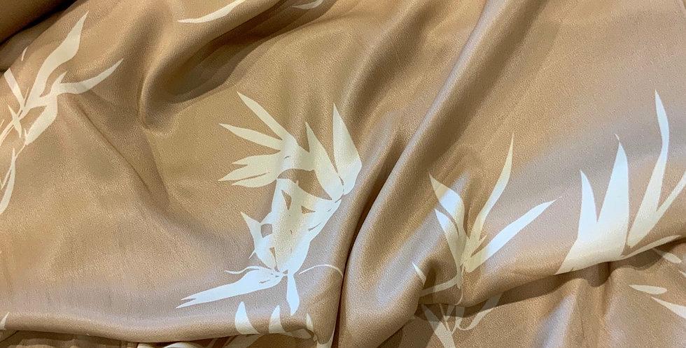 Gold Bamboo Leaves De-Lustred Viscose Satin...