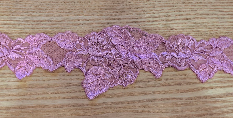 Rose Pink Scallop Stretch Lace...