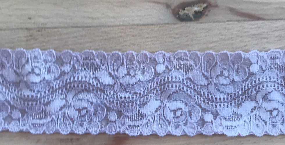 Dusty mauve 4cm stretch lace trim