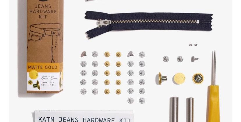 KATM jeans hardware kit MATTE GOLD 19cm zip