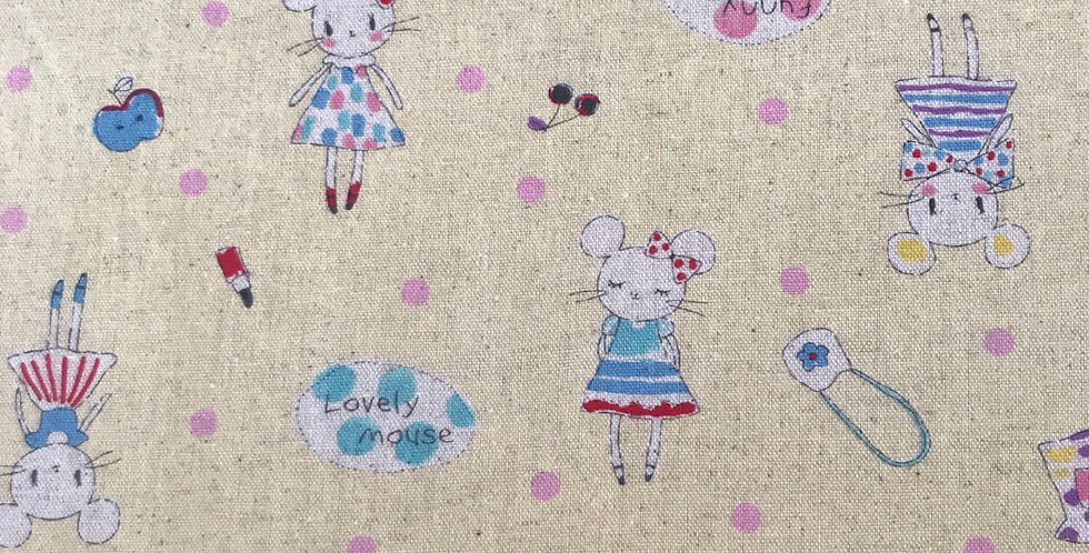 Funny mouse Japanese linen cotton