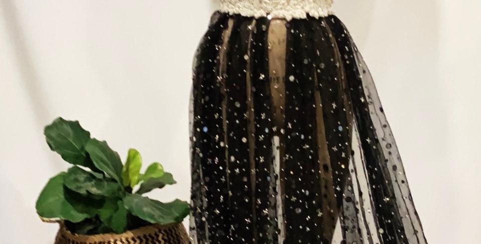 Medora Mirror Beaded Black Tulle....
