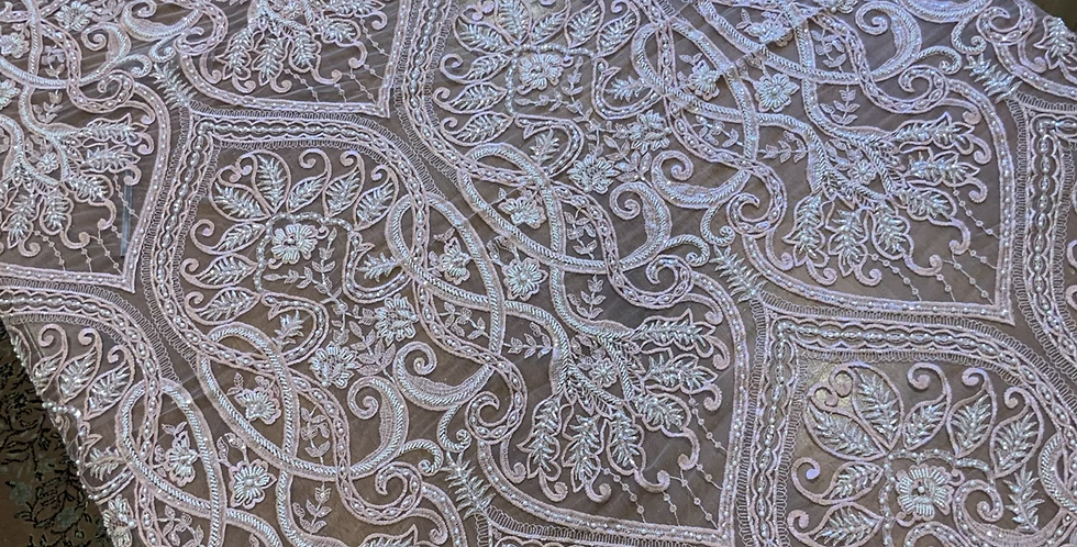 Dusty Pink Hand Dyed Beaded Lace Off Cut #5019