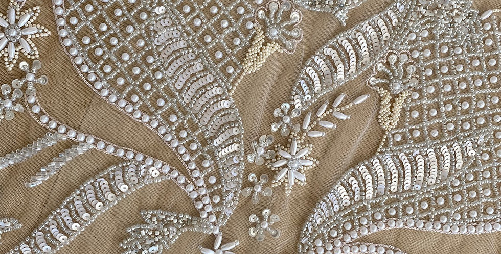 Ivory 3D embroidered beaded tulle piece C12