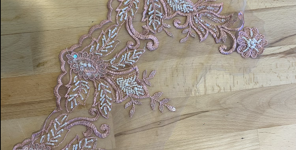 Dusty pink beaded lace border piece 16