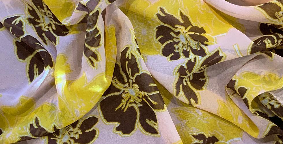 Holiday Floral Silk Chiffon Remnant