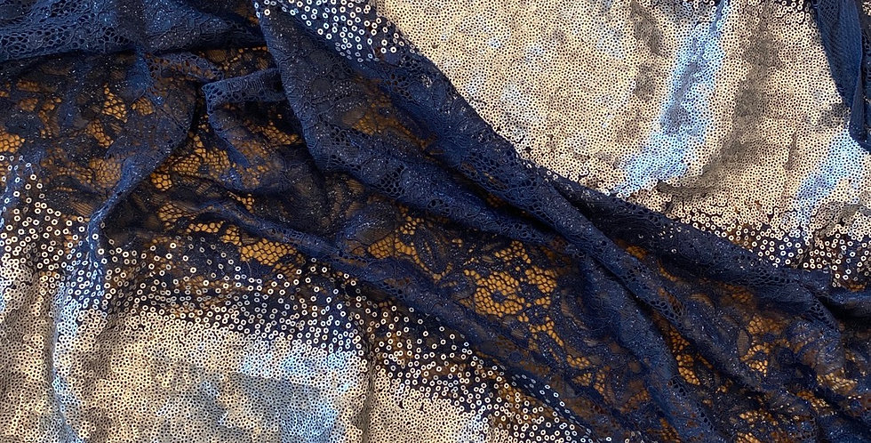 Navy and pewter sequin lace remnant
