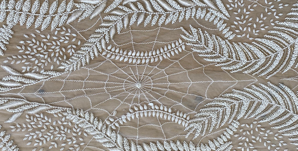 Ivory her web beaded embroidered tulle panel C10