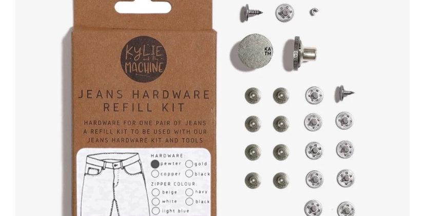 KATM jeans hardware refill kit PEWTER 19cm zip