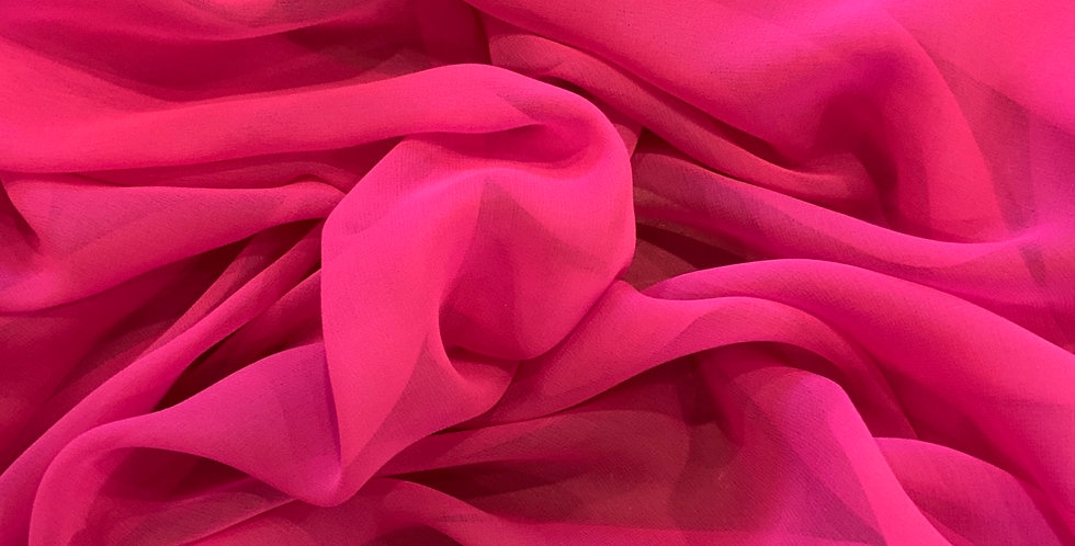 Hot Pink Silk Chiffon Remnant