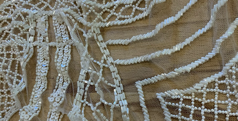 Ivory Hand Beaded Tulle Off Cut #9064