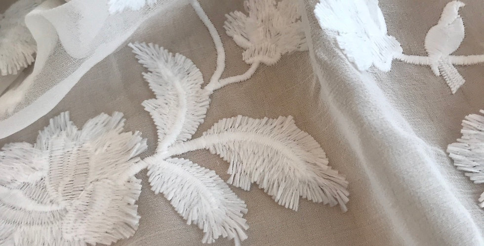 Ivory trail embroidered silk chiffon remnant