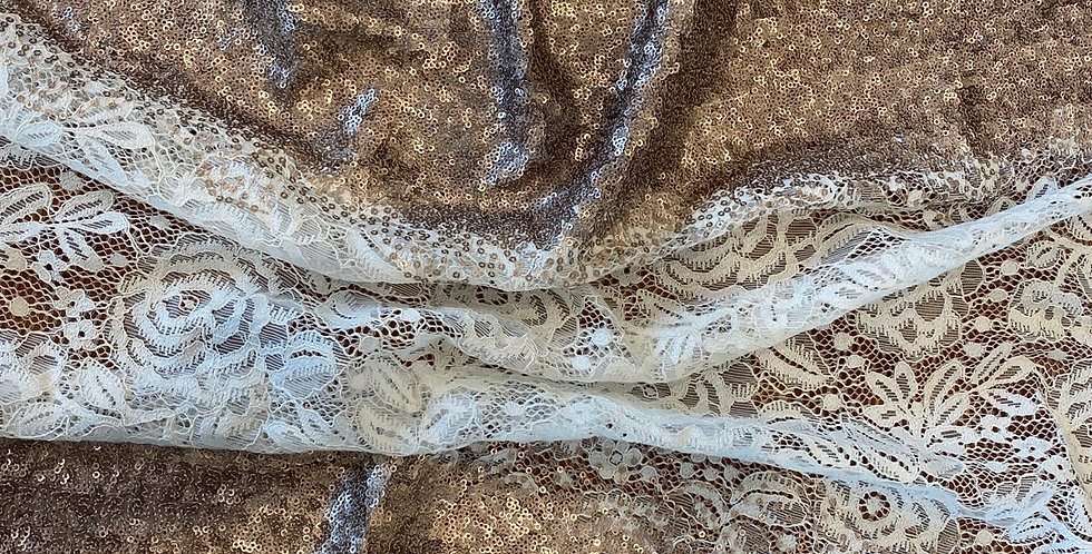Ivory and rose gold sequin lace remnant