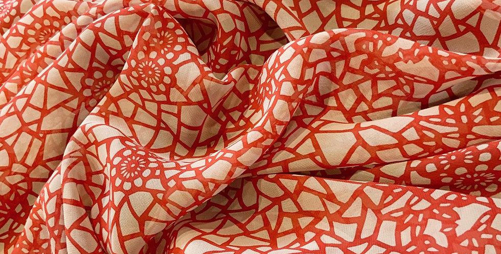 Kaleidoscope Red Silk Chiffon....