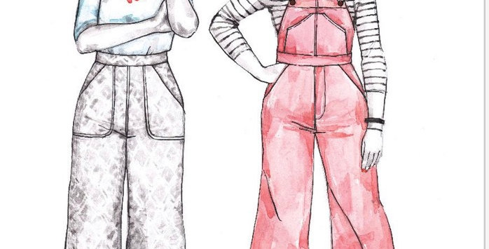 closet core jenny overalls and pants printed pattern