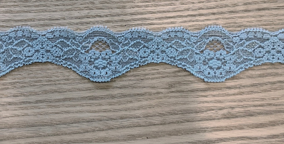 Pale Teal Hand Dyed Scallop Stretch Lace....
