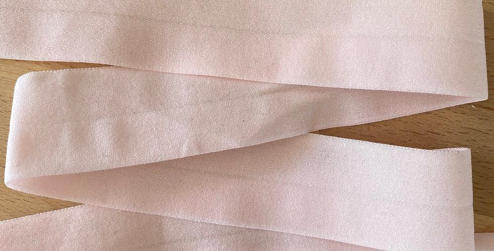 Baby pink matte 25mm fold over elastic