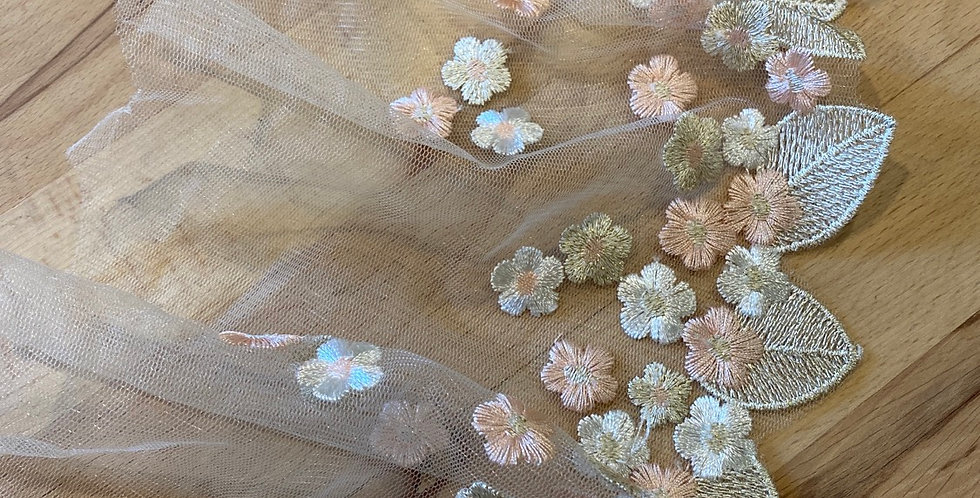 Flower drop embroidered trim blush