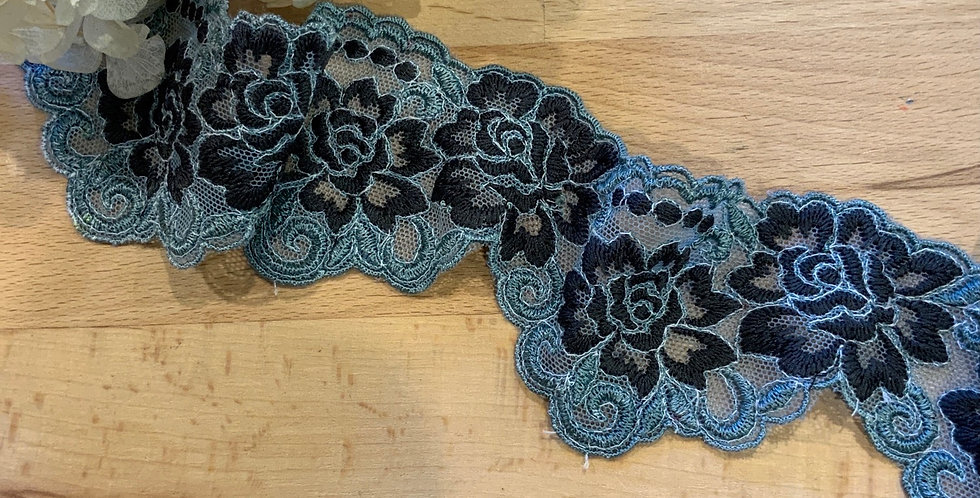 Abbie Rose Teal Hand Dyed Embroidered Scallop Lace