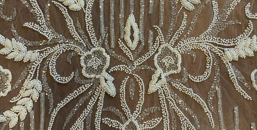 Ivory beaded Lace Off Cut #7016