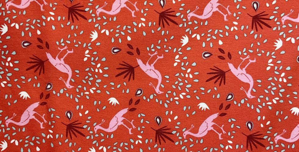 Red Peacocks Domotex French Cotton Spandex Knit...