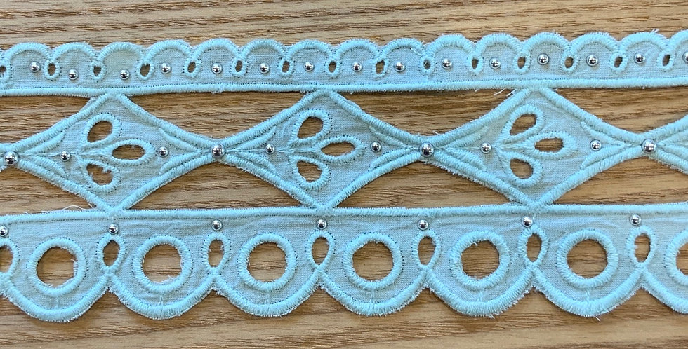 Riviera Aqua Cotton Double Edged Embroidered Studded Lace...