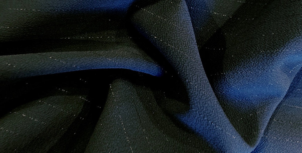 black lurex stripe fused georgette remnant