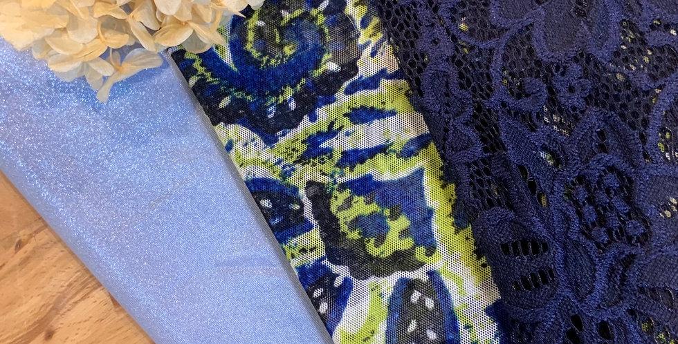 Blue Paisley 3 Pack Lingerie Fabrics