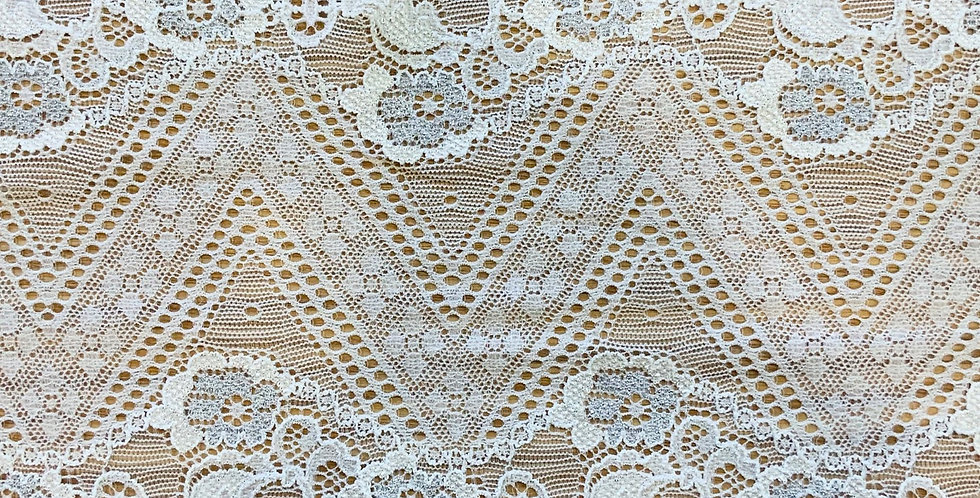 Florence White Metallic Stretch Lace...